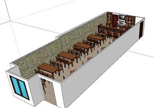 餐饮店内部室内装饰设计SU(草图大师)模型