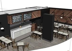 现代餐厅内部室内装饰设计SU(草图大师)模型