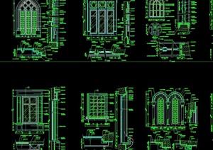 歐式風格詳細的完整窗戶素材設計cad施工圖