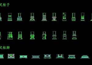 中式柱子素材cad施工图