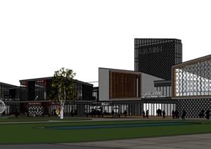 現代中式風格商業街建筑sketchup模型