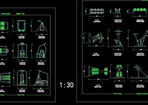 详细的完整健身器材cad图块
