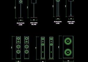 詳細的整體音箱素材cad圖塊