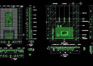 獨特詳細完整的別墅背景墻cad施工詳圖