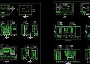 多个不同的KTV包房室内cad施工详图