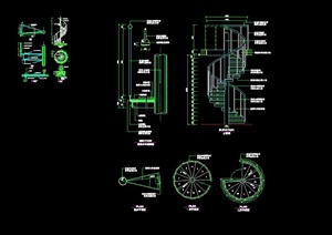 详细的完整整体楼梯素材cad施工详图