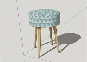 圓形簡約坐凳完整設計SU(草圖大師)模型