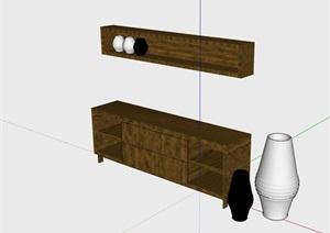 獨特木質柜子素材設計SU(草圖大師)模型