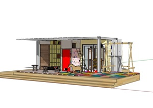 集裝箱游樂建筑素材設計SU(草圖大師)模型
