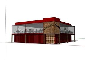 集裝箱兩層詳細的餐飲建筑設計SU(草圖大師)模型