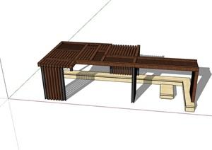 新中式木質廊架素材SU(草圖大師)模型