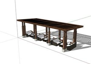 新中式詳細的廊架素材SU(草圖大師)模型