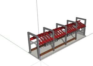 新中式獨特的廊架素材SU(草圖大師)模型