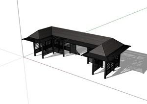 新中式完整詳細的廊架素材SU(草圖大師)模型