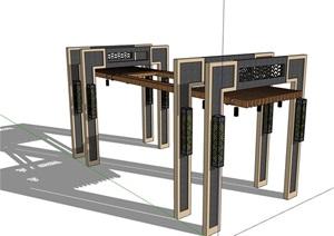 新中式廊架完整的素材設計SU(草圖大師)模型