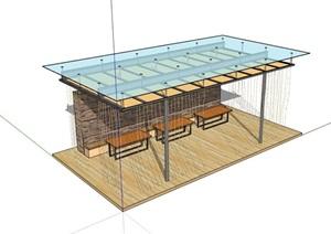 現代風格完整的廊架素材設計SU(草圖大師)模型