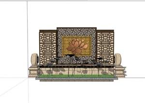 新中式風格完整的景墻素材詳細設計SU(草圖大師)模型