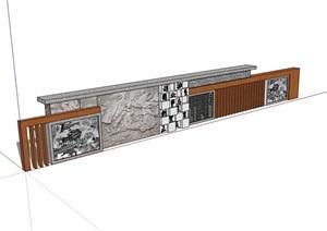 新中式磚砌文化景墻素材詳細設計SU(草圖大師)模型