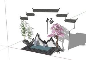新中式完整的整體景墻素材詳細設計SU(草圖大師)模型