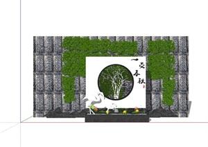 新中式完整的景墙素材详细设计SU(草图大师)模型