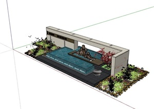 新中式水池景墻素材詳細設計SU(草圖大師)模型