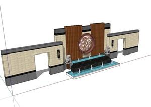 新中式景墙素材详细完整设计SU(草图大师)模型