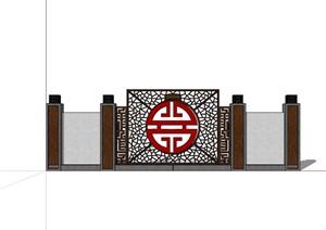 新中式完整的景墻素材詳細設計SU(草圖大師)模型