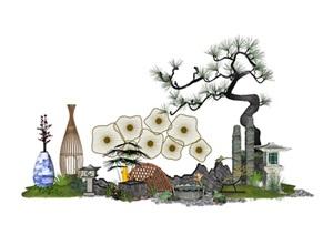中式禅意庭院景观小品SU(草图大师)模型