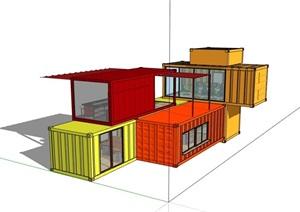 集装箱两层办公建筑设计SU(草图大师)模型