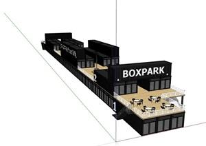 集装箱两层餐饮建筑设计SU(草图大师)模型