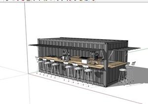 单层餐饮集装箱详细设计SU(草图大师)模型