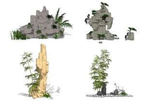 新中式假山叠石 石头SU(草图大师)模型