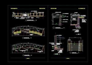 完整的悬臂式花架素材设计cad施工图