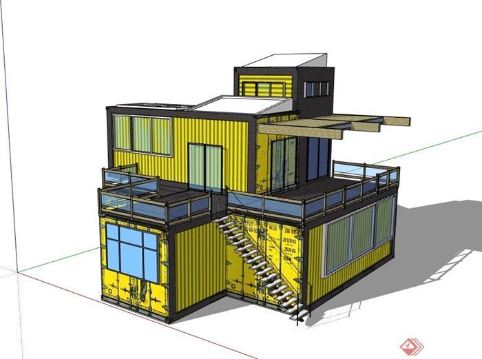 多层详细的住宅集装箱建筑su模型