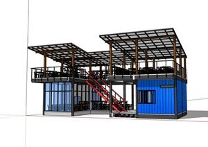 集装箱餐饮建筑设计SU(草图大师)模型