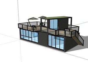 集装箱快餐店建筑设计SU(草图大师)模型