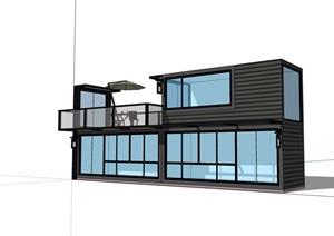 单层快餐厅集装箱建筑SU(草图大师)模型