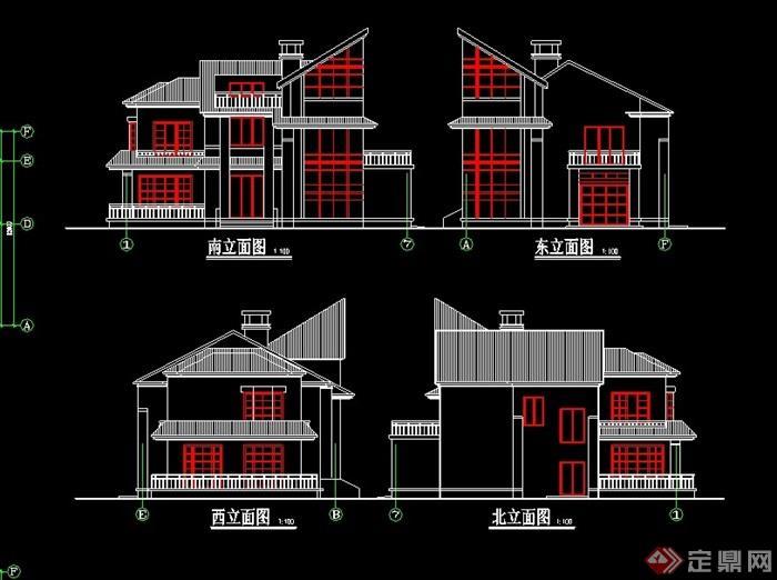 简欧风格多层别墅建筑设计cad方案