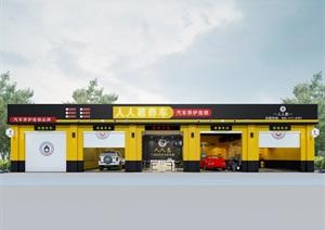 汽車美容快修店面設計。3D模型,帶材質貼圖