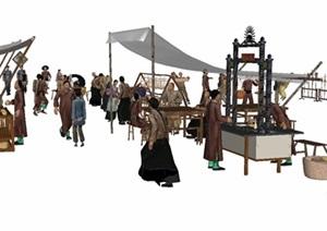 古代商业老街人物集SU(草图大师)模型