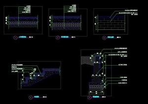 人行车行道铺装基础构造剖面做法台阶剖面花池剖面施工图详图