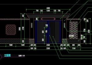 新中式现代中式镂空花窗围墙景墙大门铝板大门景亭施工图