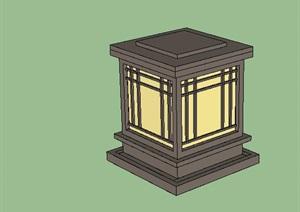 新中式现代中式灯具灯柱草坪灯SU(草图大师)模型