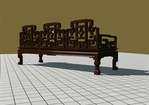 中式長椅單個個體模型可編輯
