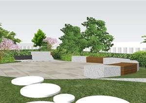 现代风格屋顶花园景观SU(草图大师)模型