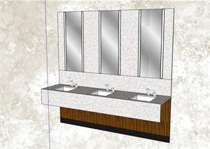 公共衛生間洗手臺設計SU(草圖大師)模型