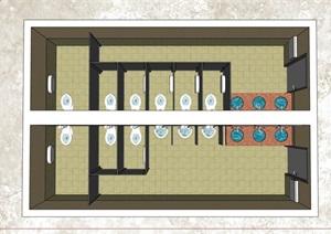 公共卫生间空间室内设计SU(草图大师)模型