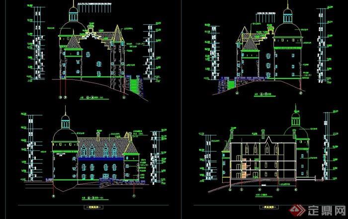 欧式风格多层详细的完整住宅建筑cad方案