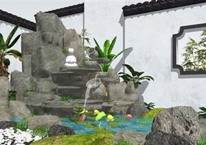 新中式景觀小品跌水景觀假山疊石石頭植物SU(草圖大師)模型