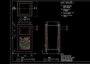 园林景观垃圾桶小品设计cad施工图